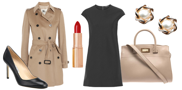 Timeless essentials: Black Manolos, trench coat, red lipstick, LBD, Beige Italian handbag, pearl earrings. Yawn!