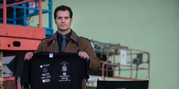 Henry Cavill on the set of Batman V Superman: Dawn Of Justice.