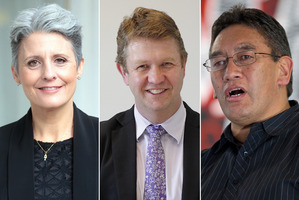 Internet Party leader Laila Harre, left, Labour leader David Cunliffe and Mana leader Hone Harawira.