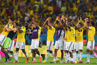 Colombia's players acknowledge their fans after defeating Uruguay 2-0. Photo / Getty Images
