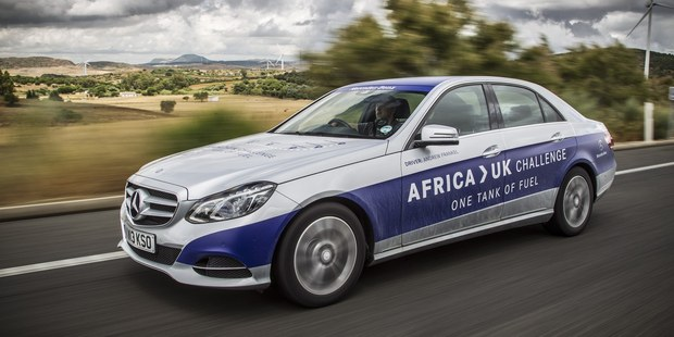 A Mercedes-Benz E 300 Hybrid drove from Tangier in North Africa to Goodwood in England on one tank of fuel. Photos / Supplied