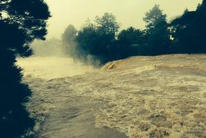 Paihia resident Frances Long took this photo of Haruru Falls this morning as the flood waters raged.