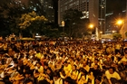 SIT-IN: Protesters after a pro-reform march in Hong Kong. PHOTO/AP