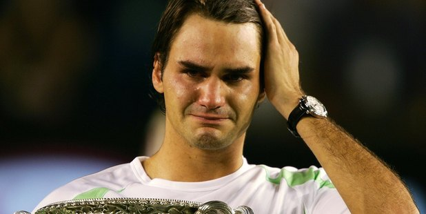 Roger Federer of Switzerland cries after victory in his Men's Singles Final match against Marcos Baghdatis during the Australian Open in 2006. Photo / Getty Images