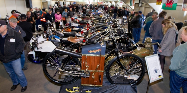 An estimated 10,000 people attended the Evolution of the Motorcycle Show during the weekend, some to see the 1896 steam engine bike (pictured in the foreground). Photo/Glenn Taylor