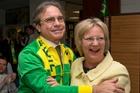 Brazil's Ambassador to NZ, Eduardo Gradilone, hugs German ambassador Anne-Marie Schleich after the semifinal. Photo / Mark Mitchell
