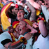 German soccer fans celebrate after their team scores at the Brazil World Cup semi final being played in Berlin. Photo / AP