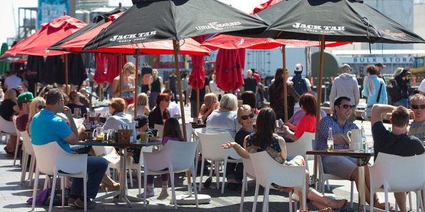 People dining at the Wynyard Quarter. Photo / NZ Herald