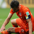 The Netherlands captain Robin van Persie picks himself up. Photo / Getty Images