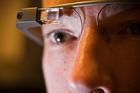 Kieran Waelen wears Google Glass during a demonstration of how wearable technology will impact digital banking. Photo / Greg Bowker