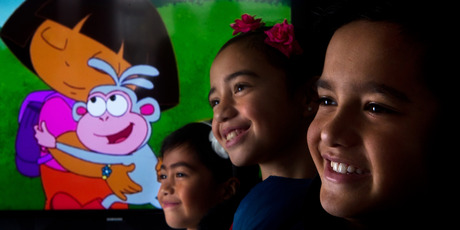 Te Rangitakaroro, 9, (front) with sisters Mai Io, 8 and Arawa, 6, are the te reo Maori voices for Dora the Explorer set to screen on Maori Television this month.