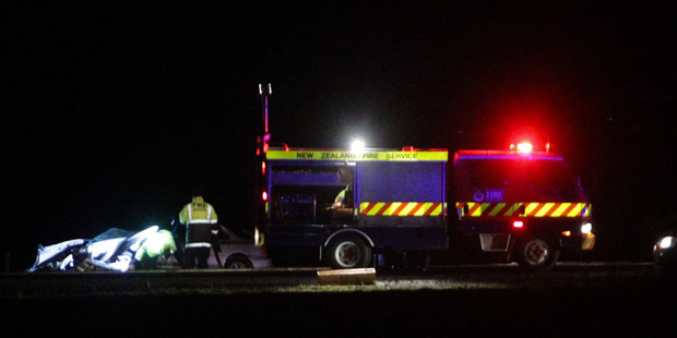 Police at the scene of a serious crash on Prebensen Drive, Napier,  last night.