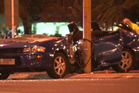 The three teens driving in this car remain in hospital after crashing during a suspected police pursuit. Photo / still from video