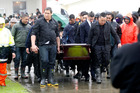Mourners gather at the funeral of Jordan Kemp at the Atamatea Marae in Northland today. Photo / Chris Gorman