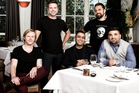 At The Grove: Mikey Newlands, current chef Ben Bayly, Sid Sahrawat, Michael Meredith and Michael Dearth. Photo / Babiche Martens.