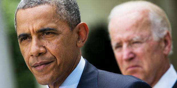 President Barack Obama, accompanied by Vice President Joe Biden. Photo / AP