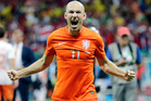 Netherlands' Arjen Robben celebrates after the Netherlands defeated Costa Rica 4-3 in a penalty shootout after a 0-0 tie during the World Cup quarterfinal soccer match. Photo / AP