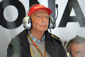 Former Austrian three-time F1 World champion Niki Lauda attends the second training session at the race track in Spielberg, Austria,