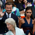 David and Victoria Beckham take their seats in the Royal Box, 2014. Photo / AP