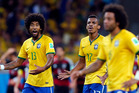 Brazil's Dante, left, and Luiz Gustavo react after Germany scored during the World Cup semifinal soccer match between Brazil and Germany at the Mineirao Stadium in Belo Horizonte. Photo / AP