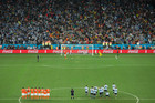 Netherlands' Ron Vlaar reacts after missing a penalty kick in a shootout at the end of the World Cup semifinal soccer match between the Netherlands and Argentina. Photo / AP.