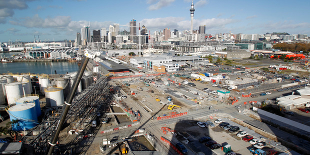 Construction work continues at Wynyard Quarter, in Auckland. Photo / Richard Robinson.