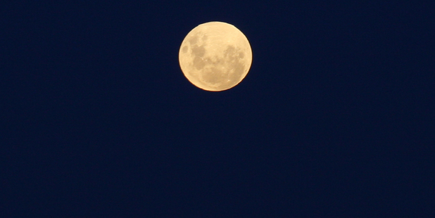 A perigee moon shines bright in the night sky. Photo / APN
