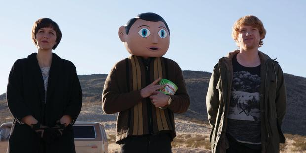 Maggie Gyllenhaal, Michael Fassbender and Domhnall Gleeson in Frank.