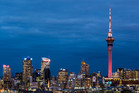 City buildings light up Auckland's skyline. Photo / Greg Bowker