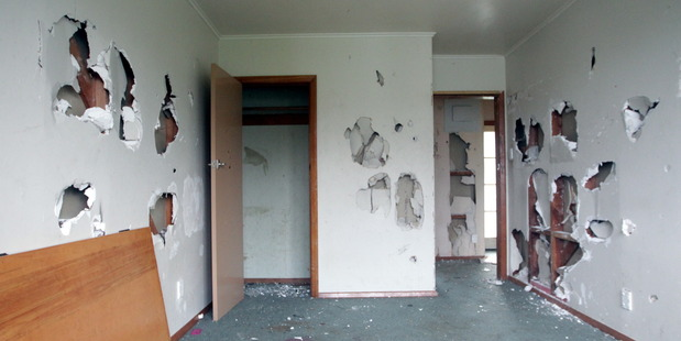 Damage done to a Housing New Zealand home in Napier recently. Photo / Paul Taylor