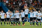 Argentine players react during their penalty shootout win against Netherlands. Photo / AP