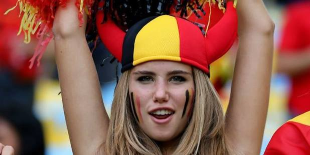 Axelle Despiegelaere snagged a modelling gig after cheering on her team. Photo / Facebook