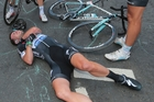 Mark Cavendish in agony after a collision in the Tour de France.