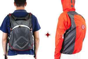 A backpack and Jacket in one that keeps you and your belongings dry from the rain. Photo / FUNNELL - EJECT   WEAR