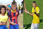 Neymar's 'little brother' next to the real Neymar. Photos / Michael Burgess and AP