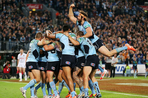 New South Wales players celebrating clinching the State of Origin series. Photo / Getty Images