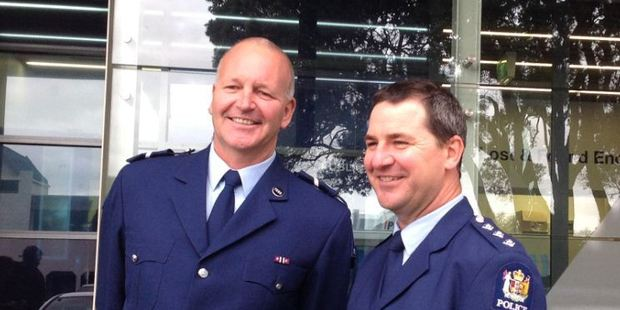 Senior Constable Adrian Oldham and area commander Inspector Clifford Paxton. Photo/Rebecca Savory