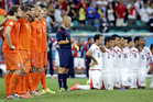 Netherlands and Costa Rica players prepare for their quarter-final penalty shootout. Photo / AP