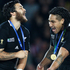 Weepu and Ma'a Nonu celebrate after winning the Rugby World Cup final. Photo / Ron Burgin