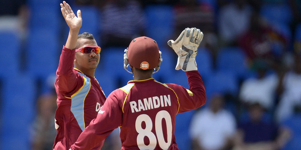 Sunil Narine took two wickets as the West Indies beat the Black Caps by 39 runs. Photo / Getty