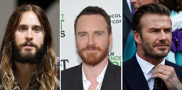 Hairy guys Jared Leto, Michael Fassbender and David Beckham. Pictures / AP Images