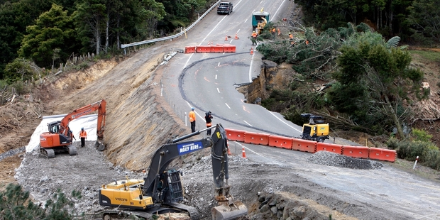 The section of SH1 where a construction team has been working around the clock to build the bypass. Photo/Tania Newman