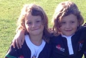 Zarah and Alexis Thomson, 7, in their Waitemata Rugby Team jerseys. Fifteen were stolen from a car outside a Tikipunga business. Photo/Supplied