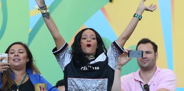 Rihanna at the World Cup final between Germany and Argentina. Photo / Getty Images