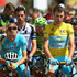 Race leader Vincenzo Nibali of Italy and the Astana Pro Team observes a minute's silence with the rest of the peloton. Photo / Getty