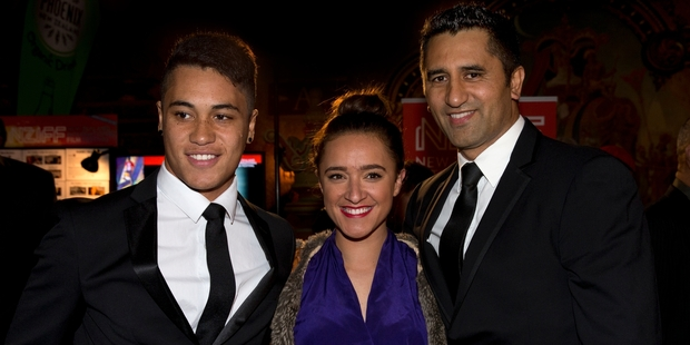 James Rolleston, Keisha Castle-Hughes and Cliff Curtis arrive to view the world premiere of The Dark Horse. Photo / Brett Phibbs