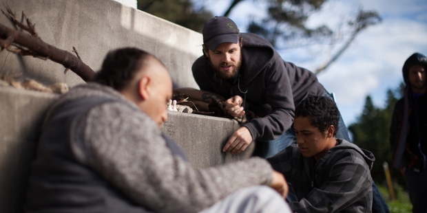 James Napier Robertson with Cliff Curtis and James Rolleston on the set of The Dark Horse.