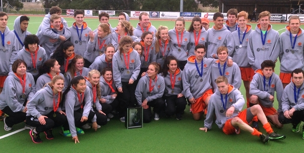 Midlands under-18 mens and womens teams celebrate their gold and silver wins at the National Under-18 Regional Tournament held in Napier.Photo/Supplied