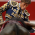 Spanish bullfighter Manuel Escribano performs with a Adolfo Martin ranch fighting bull during a bullfight of the San Fermin festival, in Pamplona, Spain. Photo / AP