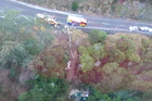 A picture of the crash site taken from the Westpac Rescue Helicopter.